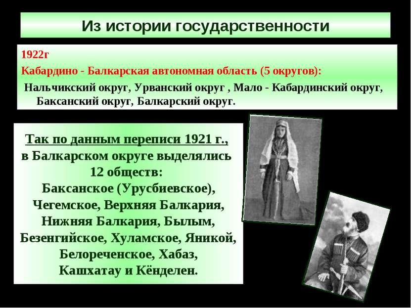 Из истории государственности 1922г Кабардино - Балкарская автономная область ...