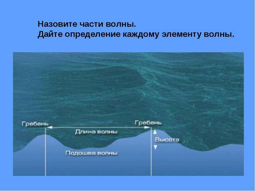Назовите части волны. Дайте определение каждому элементу волны.