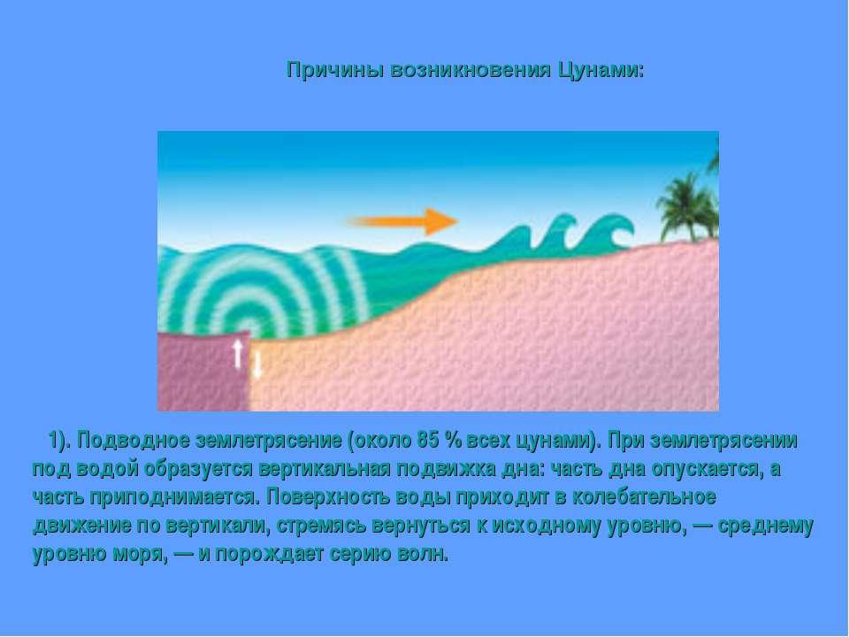 1). Подводное землетрясение (около 85 % всех цунами). При землетрясении под в...