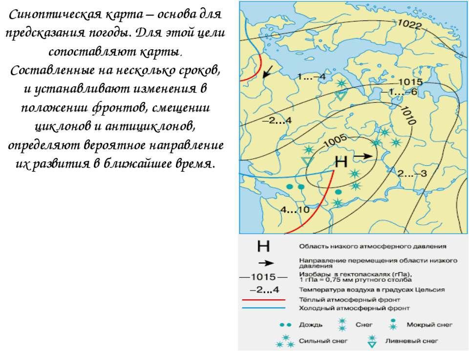 Синоптическая карта – основа для предсказания погоды. Для этой цели сопоставл...