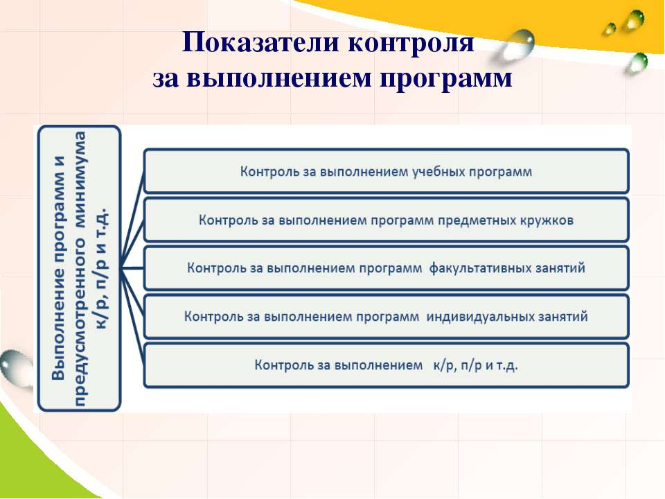 Показатели контроля за выполнением программ