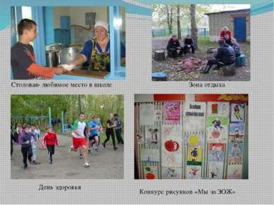День здоровья Зона отдыха Столовая- любимое место в школе Конкурс рисунков «М...