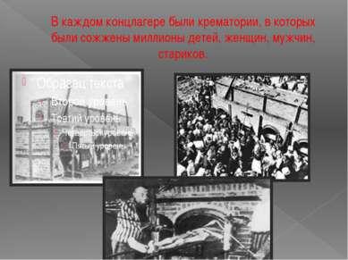 В каждом концлагере были крематории, в которых были сожжены миллионы детей, ж...