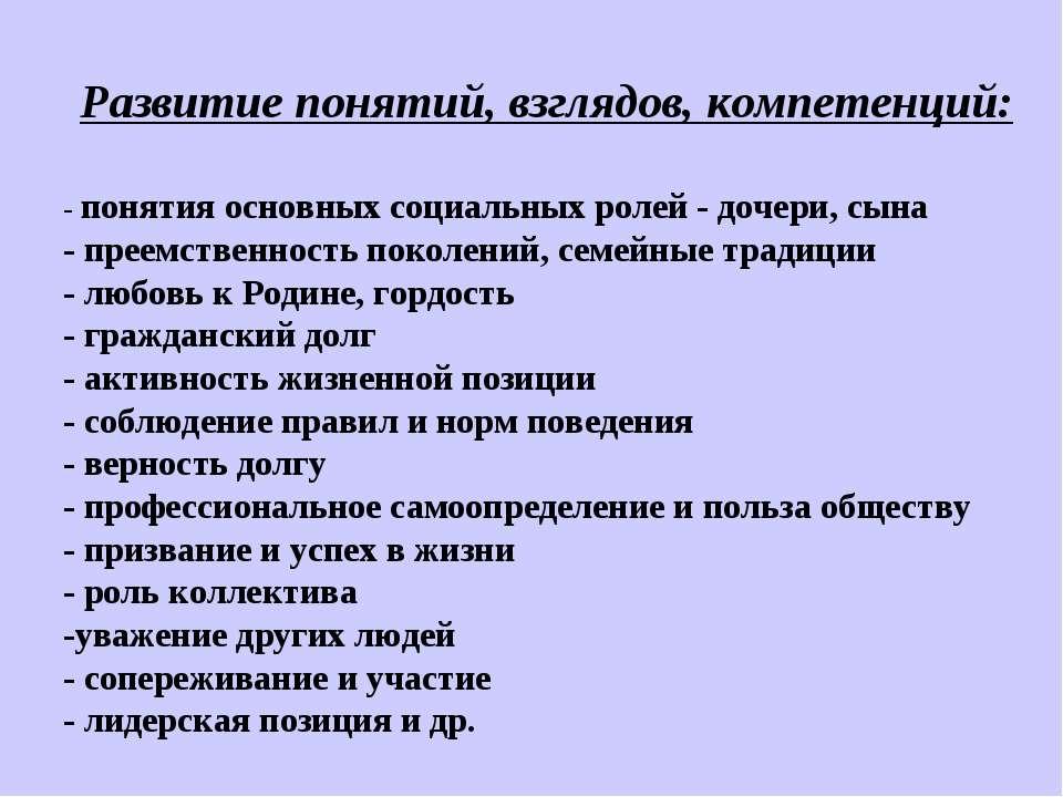 Развитие понятий, взглядов, компетенций: - понятия основных социальных ролей ...
