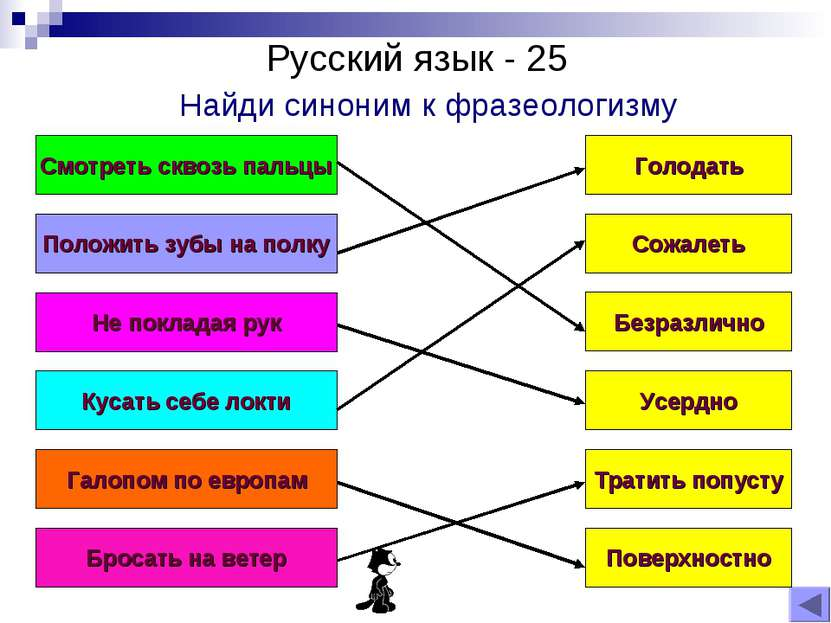 Русский язык - 25 Найди синоним к фразеологизму Положить зубы на полку Не пок...