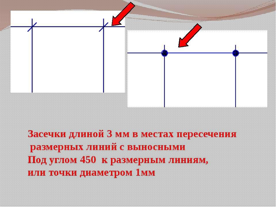 Засечки длиной 3 мм в местах пересечения размерных линий с выносными Под угло...
