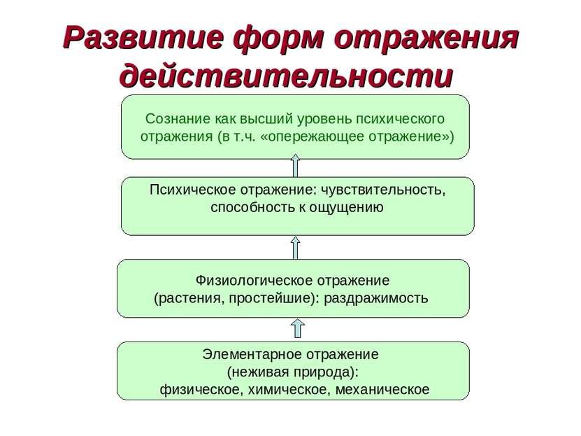 Развитие форм отражения действительности Элементарное отражение (неживая прир...