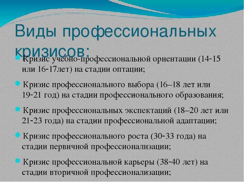 Виды профессиональных кризисов: Кризис учебно-профессиональной ориентации (14...