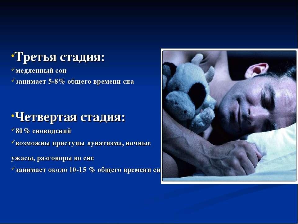Третья стадия: медленный сон занимает 5-8% общего времени сна Четвертая стади...