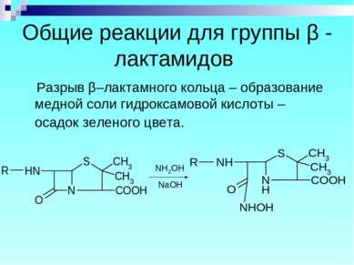 Общие реакции для группы β - лактамидов Разрыв β–лактамного кольца – образова...