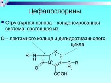 Цефалоспорины Структурная основа – конденсированная система, состоящая из ß –...