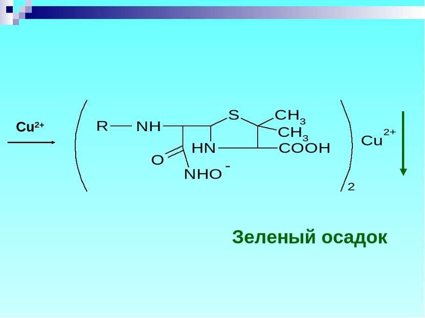 Cu2+ Зеленый осадок