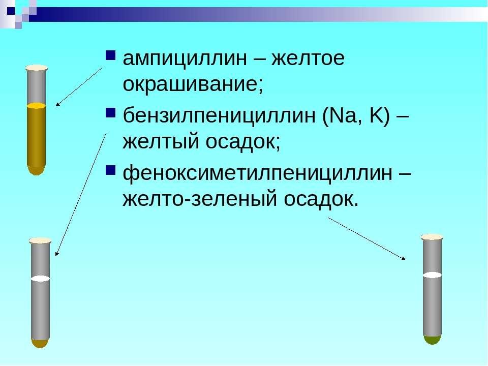 ампициллин – желтое окрашивание; бензилпенициллин (Na, K) – желтый осадок; фе...