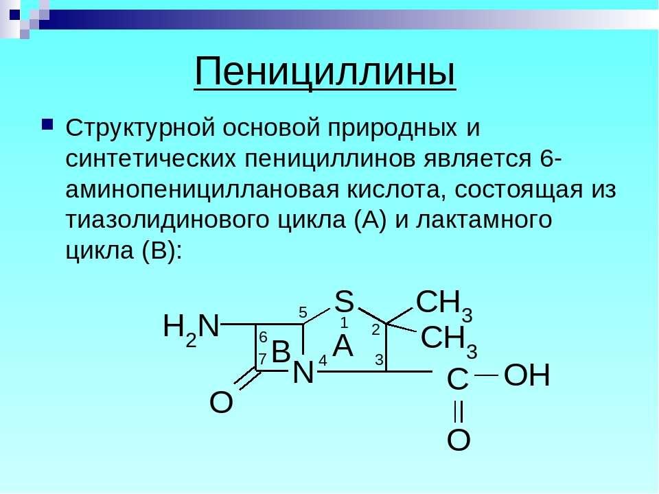 Пенициллины Структурной основой природных и синтетических пенициллинов являет...