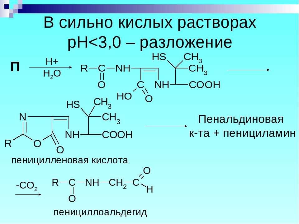 В сильно кислых растворах рН