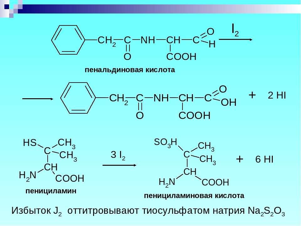 пенальдиновая кислота пенициламин пенициламиновая кислота Избыток J2 оттитров...