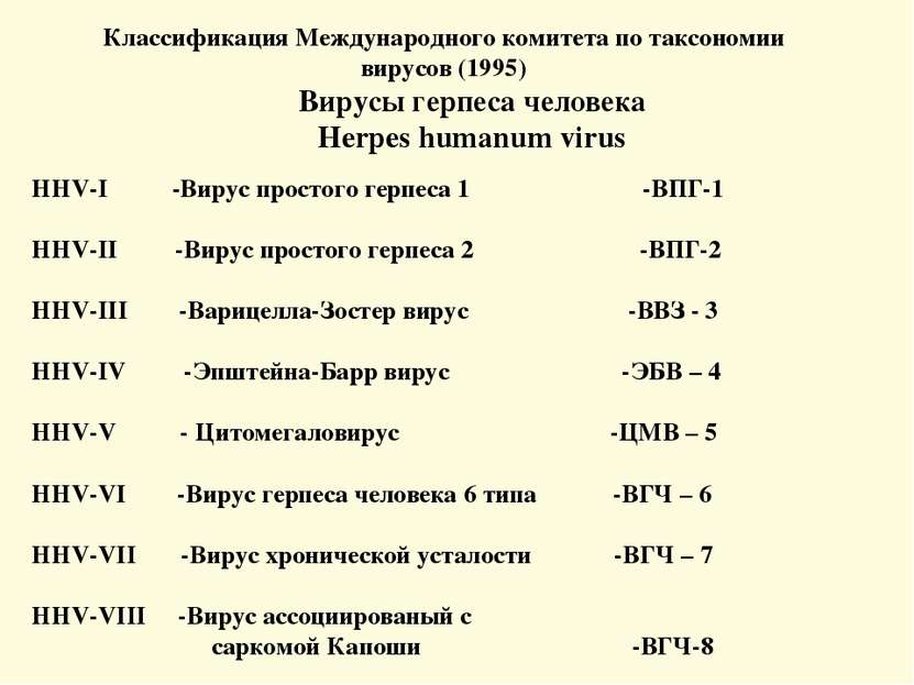 Классификация Международного комитета по таксономии вирусов (1995) Вирусы гер...