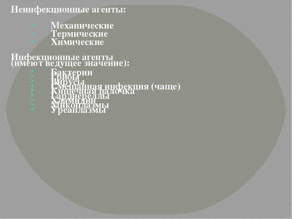Неинфекционные агенты: Механические Термические Химические Инфекционные агент...