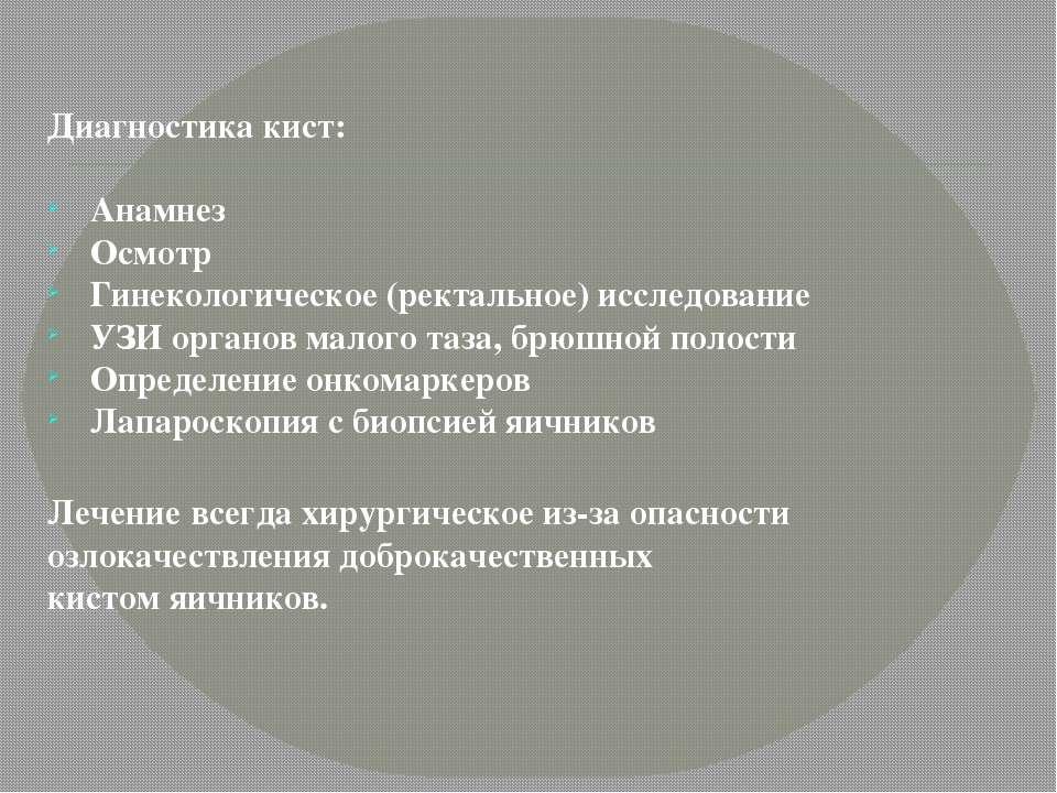Диагностика кист: Анамнез Осмотр Гинекологическое (ректальное) исследование У...