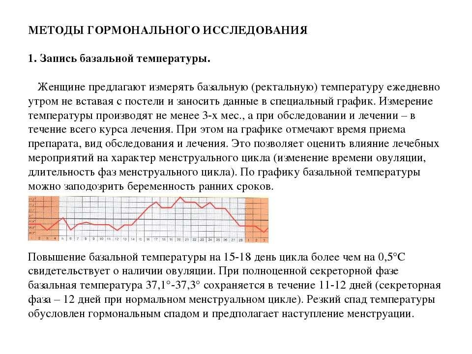 МЕТОДЫ ГОРМОНАЛЬНОГО ИССЛЕДОВАНИЯ  1. Запись базальной температуры. Женщине ...