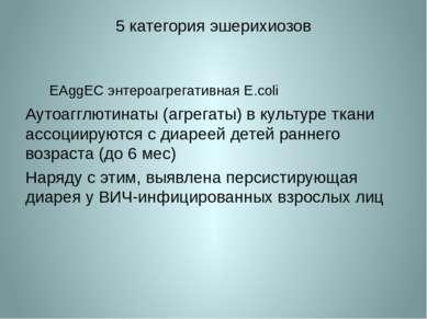 5 категория эшерихиозов EAggEC энтероагрегативная E.coli Аутоагглютинаты (агр...