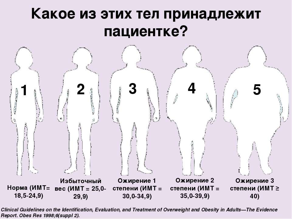 Какое из этих тел принадлежит пациентке? Норма (ИМТ= 18,5-24,9) 1 2 3 4 5 Изб...