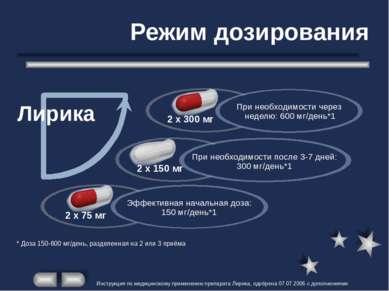 Режим дозирования 2 x 300 мг * Доза 150-600 мг/день, разделенная на 2 или 3 п...