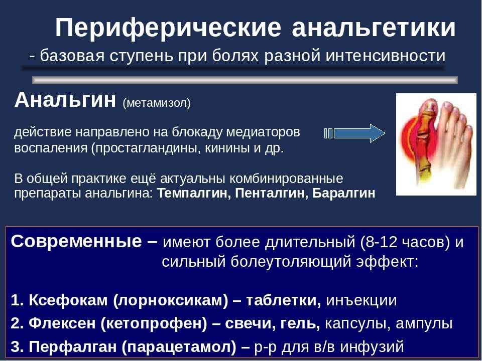 Периферические анальгетики - базовая ступень при болях разной интенсивности А...