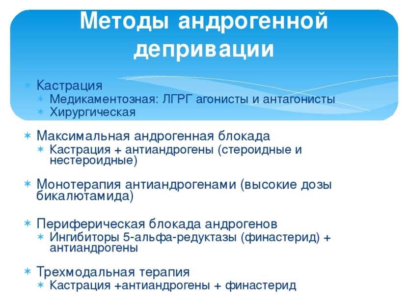 Кастрация Медикаментозная: ЛГРГ агонисты и антагонисты Хирургическая Максимал...