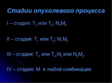 Стадии опухолевого процесса I – стадия: Т1 или Т2; N0M0 II – стадия: Т1 или Т...