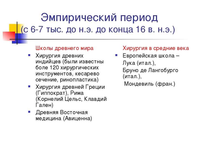 Эмпирический период (с 6-7 тыс. до н.э. до конца 16 в. н.э.) Школы древнего м...