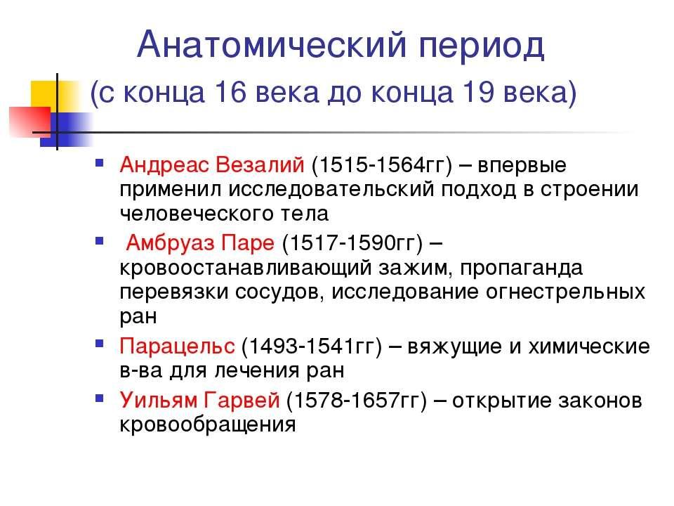 Анатомический период (с конца 16 века до конца 19 века) Андреас Везалий (1515...