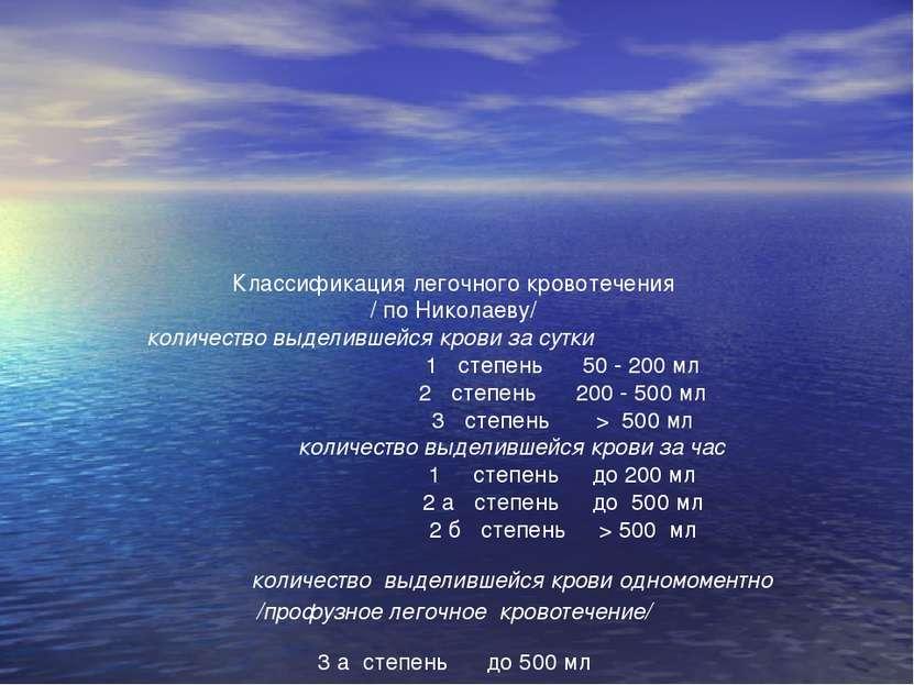Классификация легочного кровотечения / по Николаеву/ количество выделившейся ...