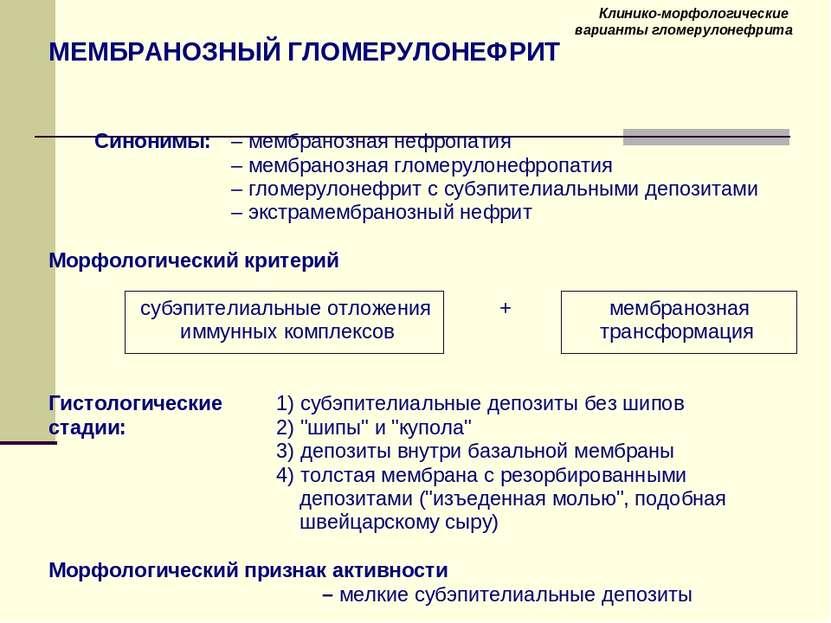 Клинико-морфологические варианты гломерулонефрита