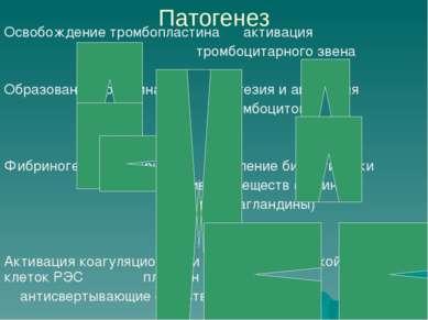 Патогенез Освобождение тромбопластина активация тромбоцитарного звена Образов...