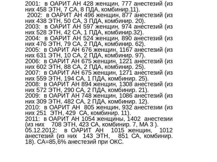 2001: в ОАРИТ АН 428 женщин, 777 анестезий (из них 458 ЭТН, 7 СА, 8 ПДА, комб...