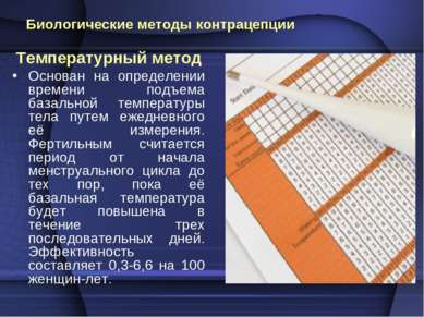 Биологические методы контрацепции Температурный метод Основан на определении ...