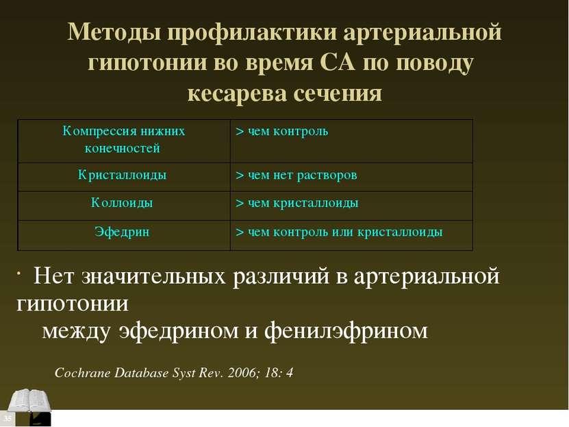 Методы профилактики артериальной гипотонии во время СА по поводу кесарева сеч...