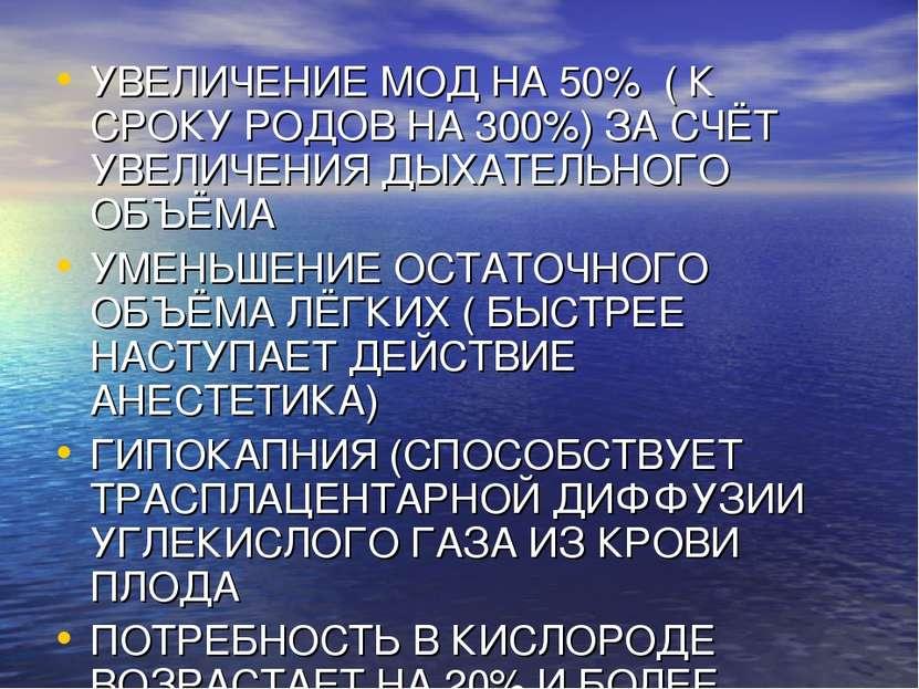 УВЕЛИЧЕНИЕ МОД НА 50% ( К СРОКУ РОДОВ НА 300%) ЗА СЧЁТ УВЕЛИЧЕНИЯ ДЫХАТЕЛЬНОГ...