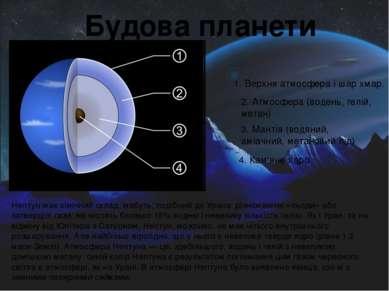 1. Верхня атмосфера і шар хмар. 2. Атмосфера (водень, гелій, метан) 3. Мантія...