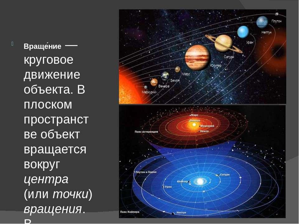 Враще ние — круговое движение объекта. В плоском пространстве объект вращаетс...