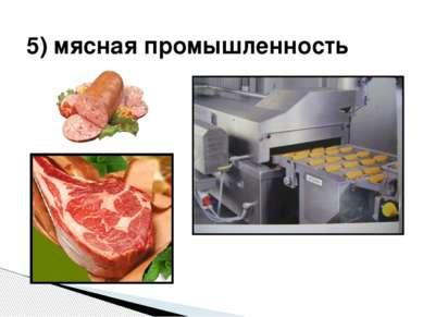 5) мясная промышленность