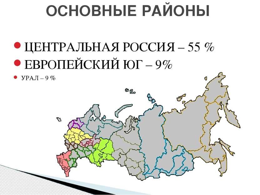 ОСНОВНЫЕ РАЙОНЫ ЦЕНТРАЛЬНАЯ РОССИЯ – 55 % ЕВРОПЕЙСКИЙ ЮГ – 9% УРАЛ – 9 %