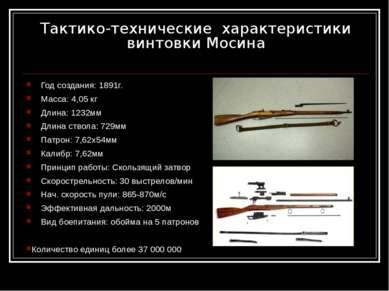 Тактико-технические характеристики винтовки Мосина Год создания: 1891г. Масса...