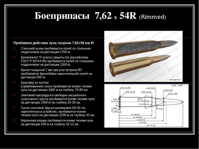 Пробивное действие пуль патрона 7,62×54 мм R: Стальной шлемпробивается пулей...