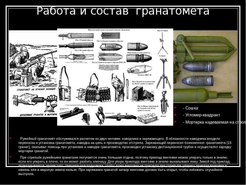 Работа и состав гранатомета - Сошка - Угломер-квадрант - Мортирка надеваемая...