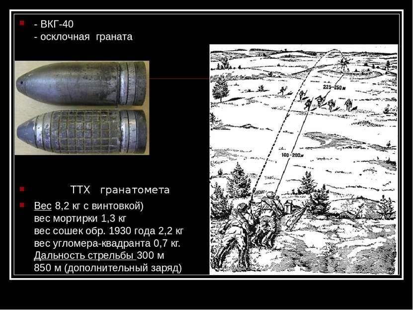 - ВКГ-40 - осклочная граната ТТХ гранатомета Вес 8,2 кг с винтовкой) вес морт...