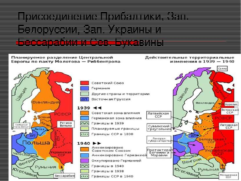 Присоединение Прибалтики, Зап. Белоруссии, Зап. Украины и Бессарабии и Сев. Б...