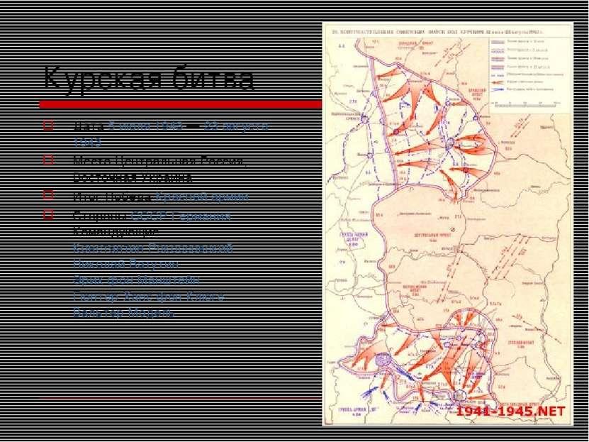 Курская битва Дата 5 июля 1943 — 23 августа 1943 Место Центральная Россия, Во...
