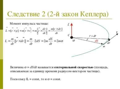 Следствие 2 (2-й закон Кеплера) Момент импульса частицы: Величина = dS/dt наз...